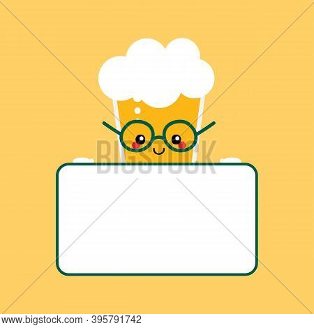 Vector Cartoon Style Cute Smiling Glass Of Lager Beer With Foam Character Holding Blank, Empty Card
