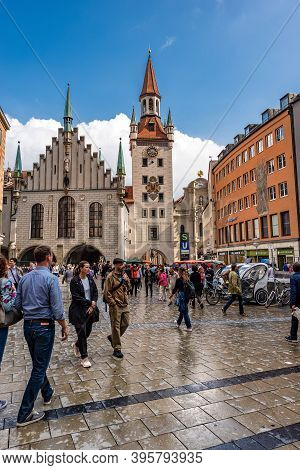 Munich, Germany - Sept 7, 2018: Marienplatz, The Main Town Square Of Munich. On Background The Altes
