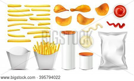 Fried Potato, Chips, Packages And Sauce Set Vector. Chips And Fry Vegetable In Blank Container, Meta