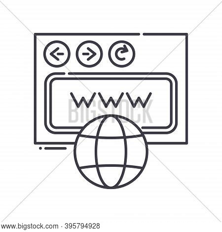 Domain Transfer Icon, Linear Isolated Illustration, Thin Line Vector, Web Design Sign, Outline Conce