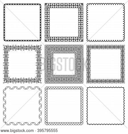 Vector Set Of Square Frames From Braided Lines. Group Of Elegant Modern Linear Twisted Ropes Monochr
