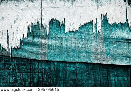 Turquoise weathered wooden texture background image
