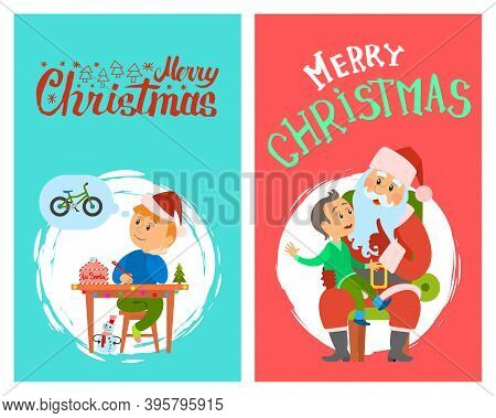 Merry Christmas, Winter Holidays, Santa Claus And Kid Sitting On His Laps, Boy Writing Letter To Sai