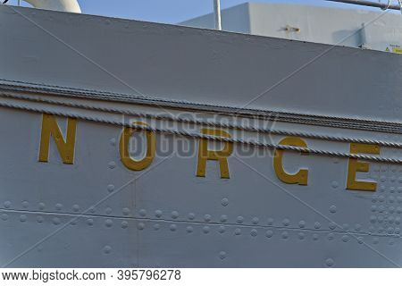 Oslo, Norway - Aug. 29th 2020: Name Plate The Norwegian Royal Yacht Norge.