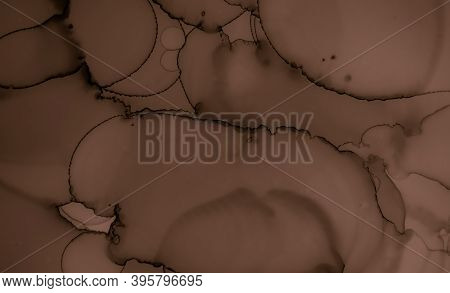 Abstract Chocolate Texture. Dark Creamy Background. Black Dessert Pattern. Watercolour Choco Border.