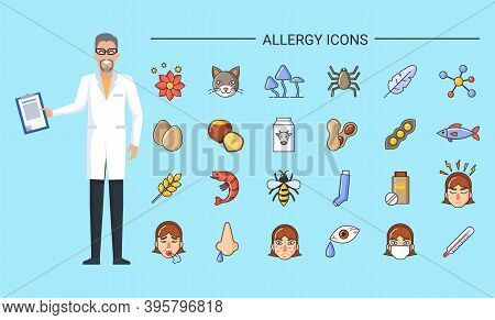 Allergy Icons, Doctor With Document Prescription And Allergens Vector. Food And Environmental Causes