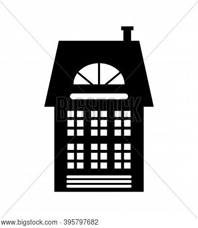 Residential Real Estate Building Icon Isolated On White. House Monochrome Silhouette, Multi Storey D