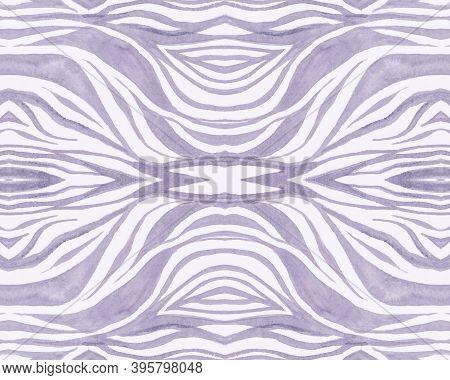 Tribal Wallpaper. Fashion Exotic Pattern. Watercolor Zebra Lines. Wildlife Leather Design. Seamless