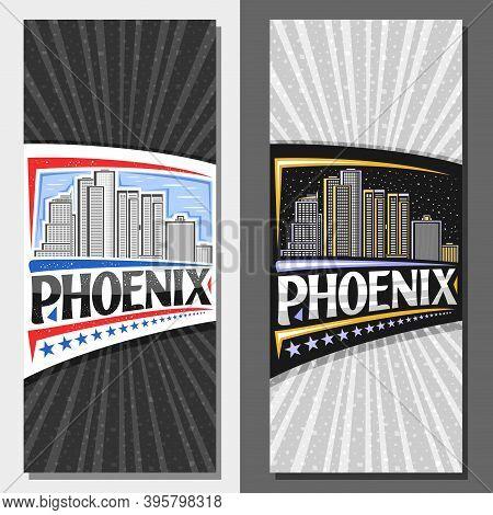 Vector Vertical Layouts For Phoenix, Decorative Leaflet With Line Illustration Of Famous Phoenix Cit