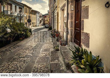 Narrow Street In Villanova Monteleone. Sardinia, Italy