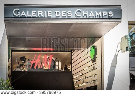 Paris, France - July 06, 2018: Galerie Des Champs And H&m Signs In World Famous Champs Elysees Boule