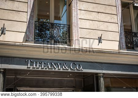 Paris, France - July, 06 2018: Tiffany & Co Store Sign In World Famous Champs Elysees Boulevard