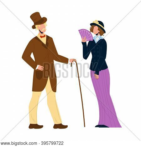 1900 Victorian People Lady And Gentleman Vector Illustration