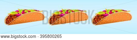 Tacos With Meat And Vegetable. Traditional Mexican Fast-food. Taco Mexico Food With Tortilla. Modern