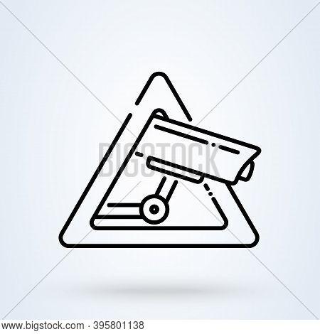 Surveillance Camera Warning Sign Line Icon Or Logo. Security Alarm  Concept. Surveillance Cctv Camer
