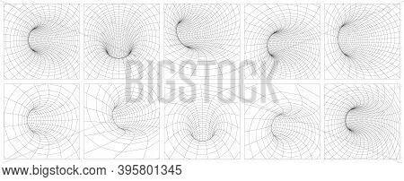 Grid Wormhole Wireframe Tunnel. 3d Gravity Quantum, Vector Wormhole Illustration. Singularity Abstra