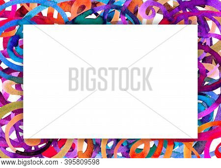 Bright Abstract Watercolor Frame With Colored Swirls With White Triangle For Text In The Center