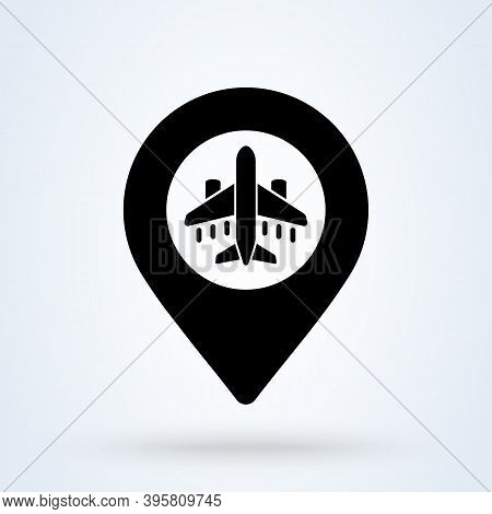 Airport Pointer Sign Icon Or Logo. Travel Point Concept. Plane, Airport Location Map Pin Pointer Vec