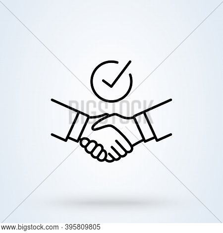 Handshake Shield Check Mark Sign Line Icon Or Logo. Commitment Thin Concept. Trust Commitment Busine