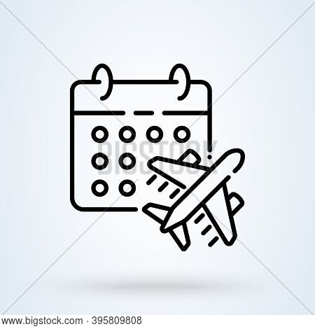 This Flight Schedule Sign Line Icon Or Logo. Travel Planning Calendar And Airplane Concept. Flight T