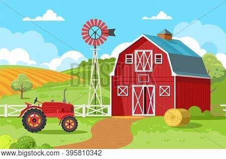 Red Barn With A Tractor And A Round Bale Of Hay. A Small Family Farm Surrounded By Green Fields And