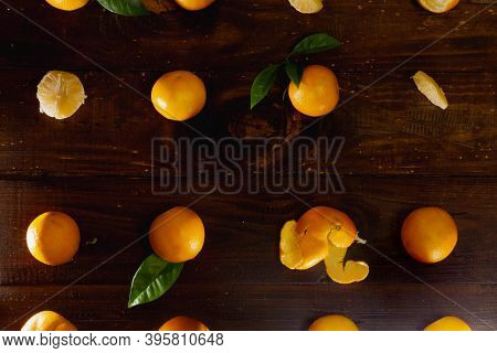 Whole Tangerines, Only Tangerines, Tangerine Peel Are Laid Out In The Correct Geometric Order On A B