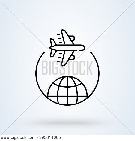 Traveling Around The World By Plane Sign Line Icon Or Logo. Travel Trip Round The World Concept. Tra