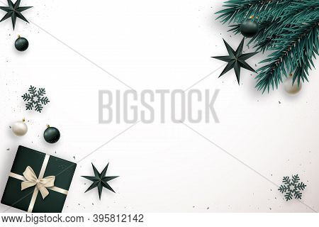 Merry Christmas Banner With Space For Text. Elegance Flat Lay Composition With Realistic Fir Tree Br