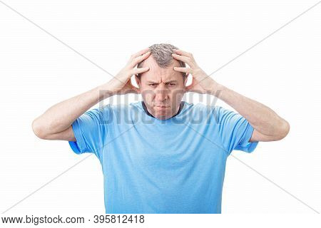 Middle Aged Man Suffering Emotional Breakdown And Depression Isolated On White Background. Middle Ag