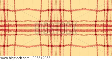 Orange Tartan Pattern. Watercolour Plaid Blanket. Woven Squares For Cloth Print. Seamless Red Tartan
