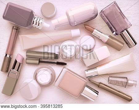 Make-up.trendy Glamour Makeover Product Set, Isolated On White Background.makeup Products, Make Up T