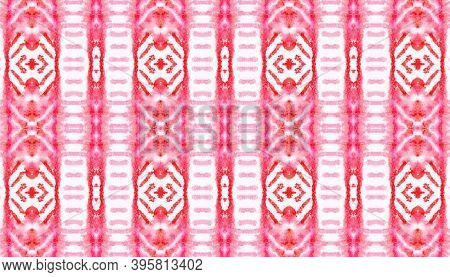 Seamless Watercolor Navajo Pattern. Native Oriental Fabric Design. Red And Yellow Colors. Abstract F