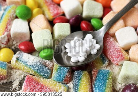 Delicious Marmalade Of Different Colors And Sugar Substitute Pills, Sweet Food