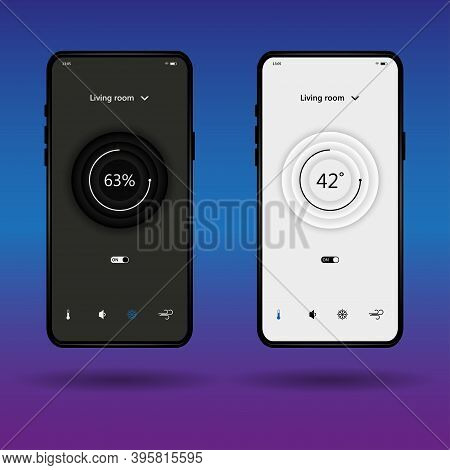Dashboard Interface And Ux Kit. Climate Control Center Design. Climate Control From A Smartphone. In