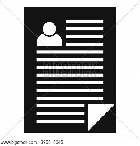 Headhunter Resume Paper Icon. Simple Illustration Of Headhunter Resume Paper Vector Icon For Web Des