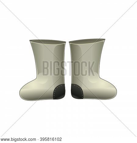 Felt Boots Isolated On A White Background. Vector Illustration