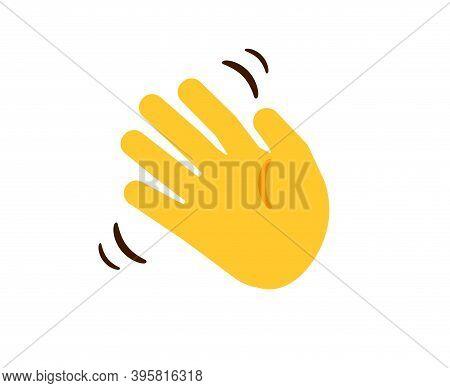 Waving Hand. Cartoon Yellow Moving Human Hand. Gesture Of Greeting Or Goodbye. Negative Or Disagreem