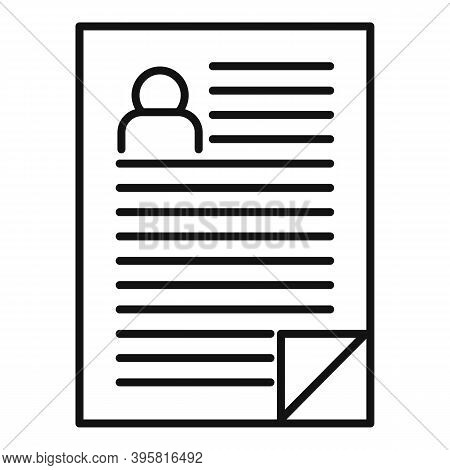 Headhunter Resume Paper Icon. Outline Headhunter Resume Paper Vector Icon For Web Design Isolated On