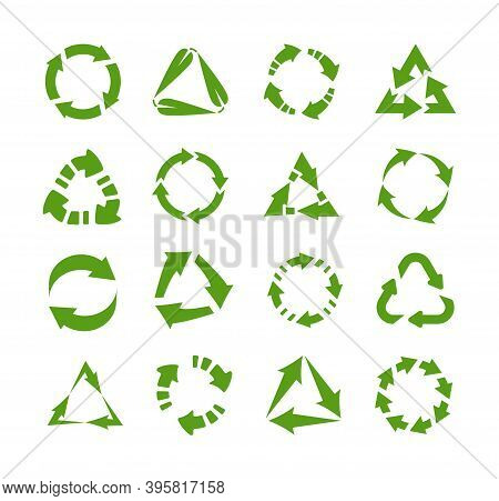 Reuse Icons. Circles And Triangles With Arrows. Green Emblems For Label, Symbol For Packaging. Proce
