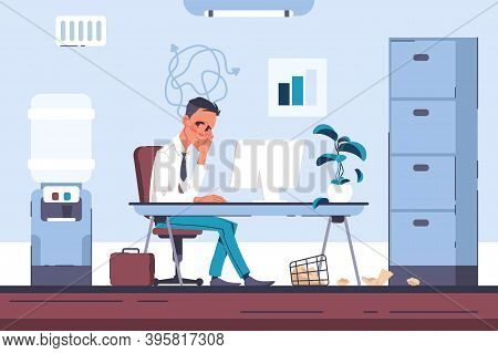 Tired Office Worker. Burnout Businessman With Headache, Overloaded Employee In Psychological Stress.