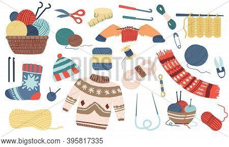 Knitting. Wool Yarn, Hook Or Needles For Handicraft. Basket With Skeins Of Threads. Handmade Garment