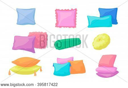 Cartoon Pillows. Decorative Bedroom Elements. Colorful Round Or Square With Tassels Cushions And Rol