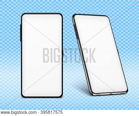 Phone Mock Up White. Two Cellphone Design 3d Mockups With White Screens. Vector Illustration Smartph