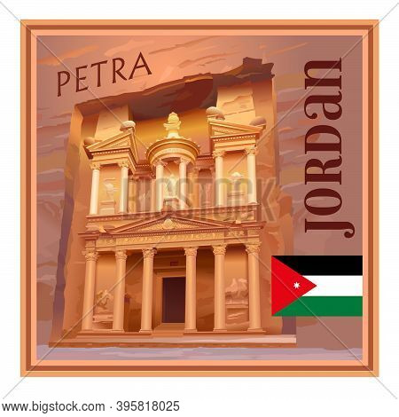 The Ancient City Of Petra, Jordan. Al Khazneh Is A Treasury. Tourist Attraction. Square Option. Souv