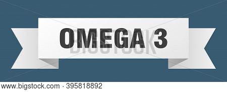 Omega 3 Ribbon. Omega 3 Isolated Band Sign. Omega 3 Banner