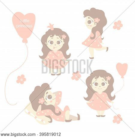 Little Princess. Set - A Cute Little Girl With Her Tongue Out, Teasing, Lying On A Pillow, Standing