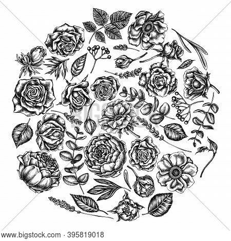 Round Floral Design With Black And White Roses, Anemone, Eucalyptus, Lavender, Peony, Viburnum Stock