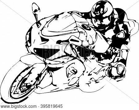 Man Riding Motorcycle In Asphalt Road. Motorcyclist At Black And White Sport Motorcycle. Vector