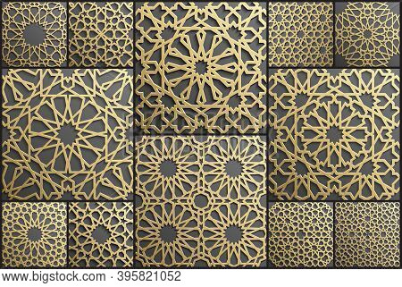 Gold Islamic Art 3d Pattern Set. Pattern Islamic Motif. Ramadan Kareem Vector. Design Ornament Ottom