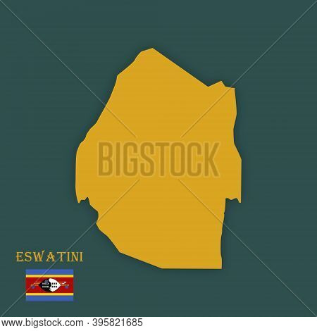 Illustration Of A Map Of Eswatini - Vector